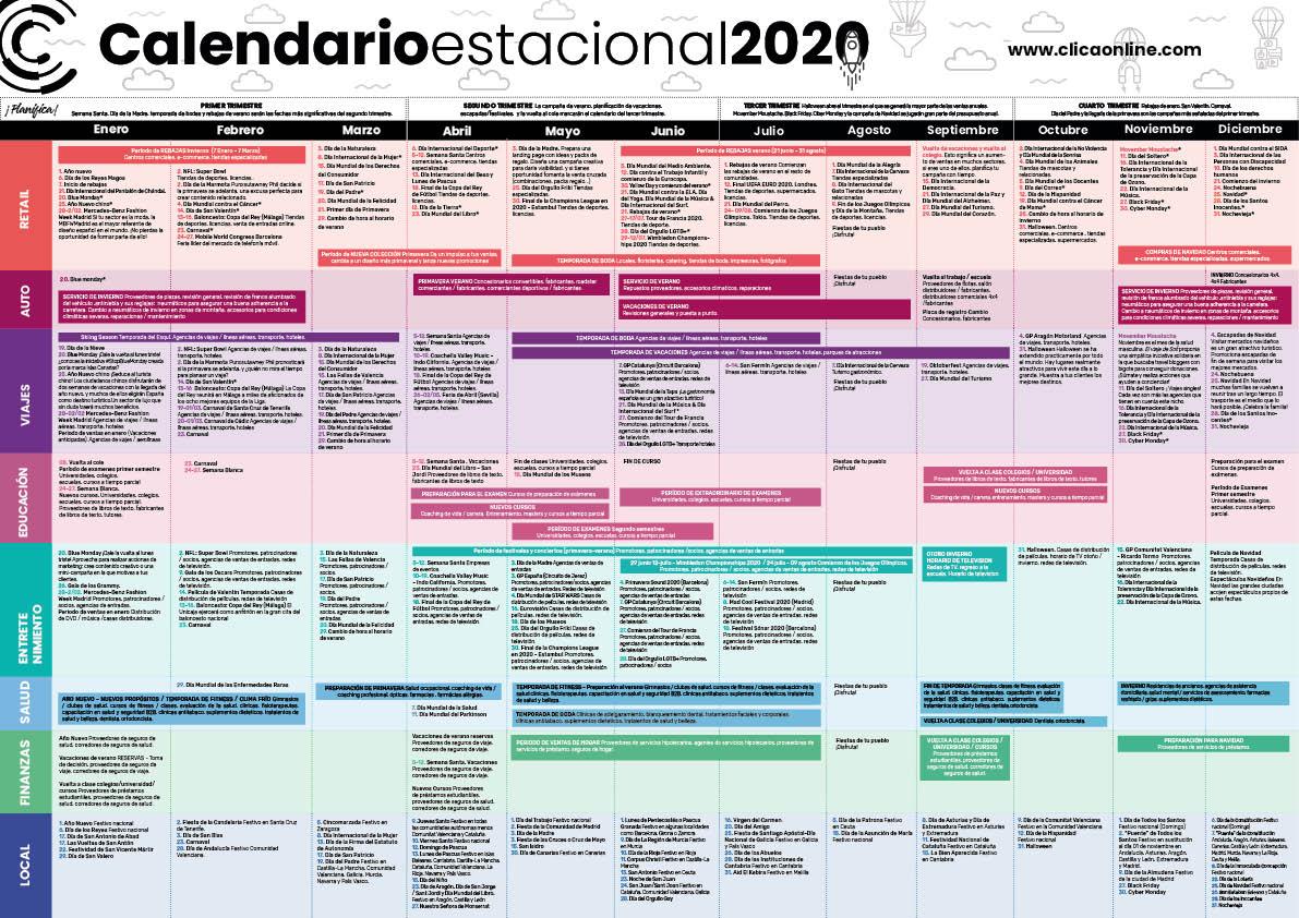 Calendario estacional de marketing digital 2020