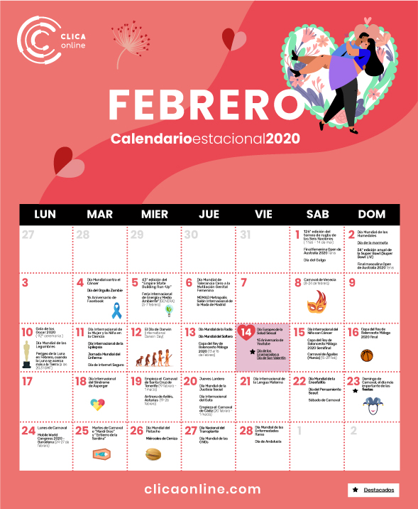 Calendario Febrero Marketing digital
