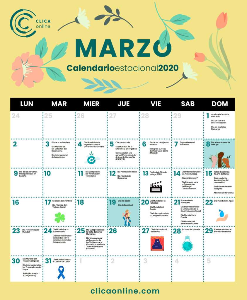 Calendario Marzo fechas clave marketing digital