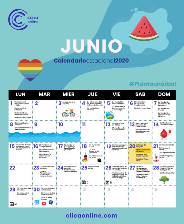 Calendario Junio 2020 - Fechas clave marketing digital Clica Online