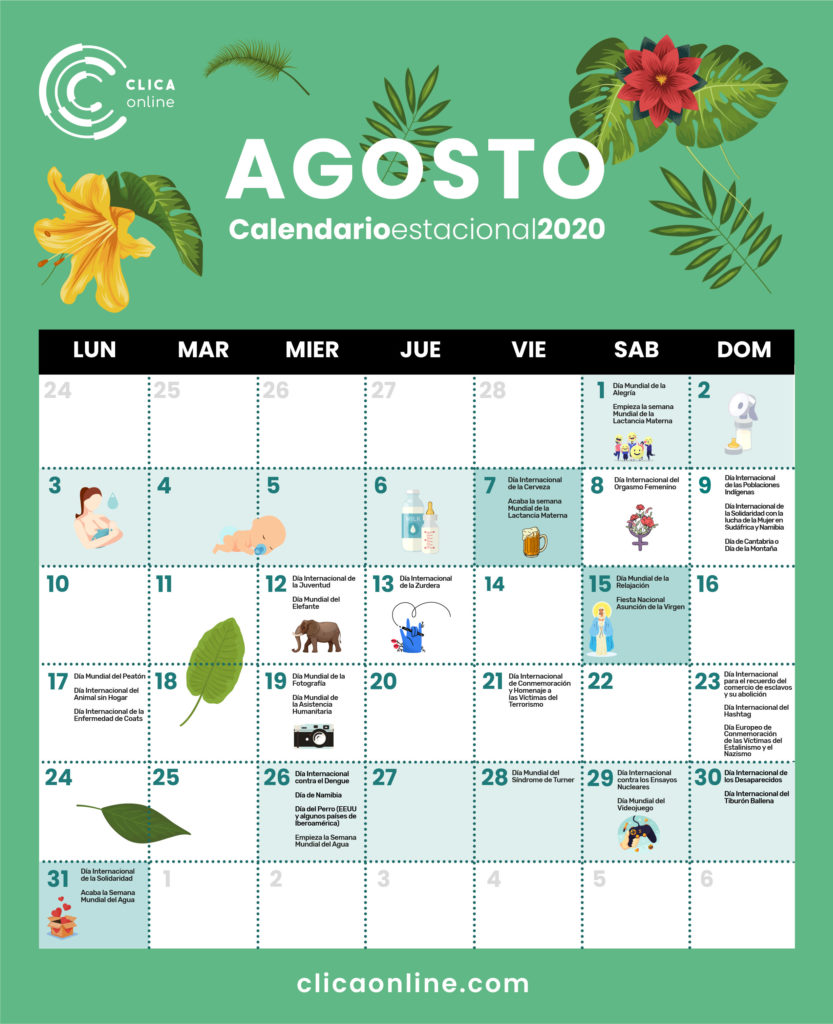 Calendario Agosto 2020 - Fechas clave marketing digital Clica Online