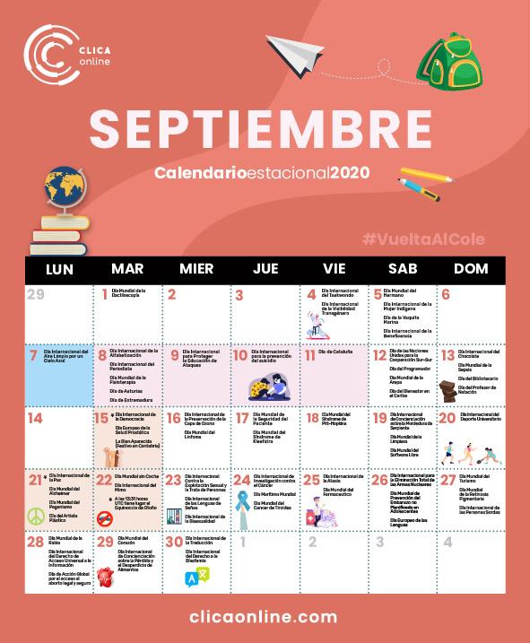 Calendario marketing Septiembre 2020 - Clicaonline.com
