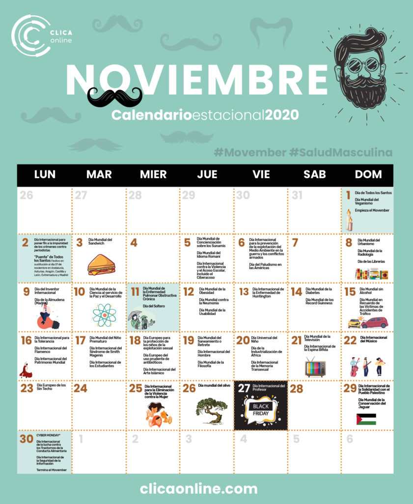 Calendario Noviembre 2020 - Fechas clave marketing digital Clica Online