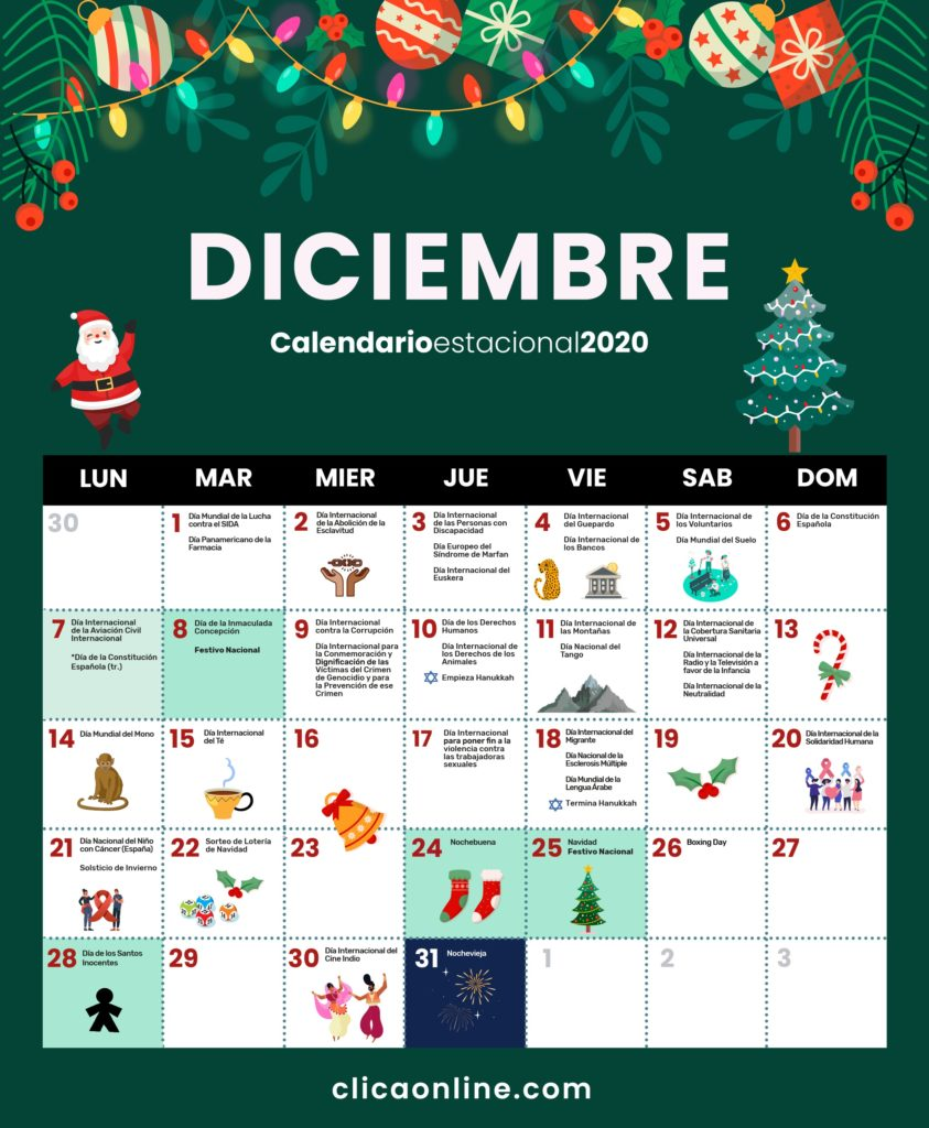 Calendario Diciembre 2020 - Fechas clave marketing digital Clica Online