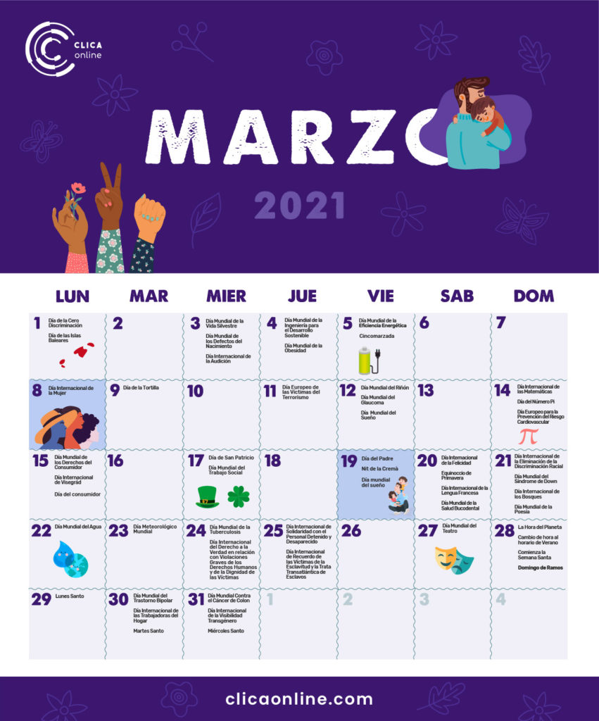 Fechas clave marzo - Calendario Marketing digital 2021 Clicaonline.com